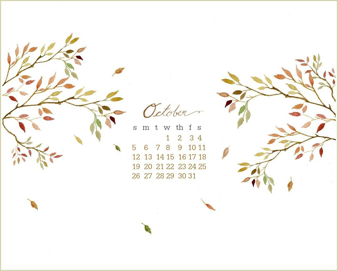 Craftberry Bush October Free Desktop Watercolor Calendar