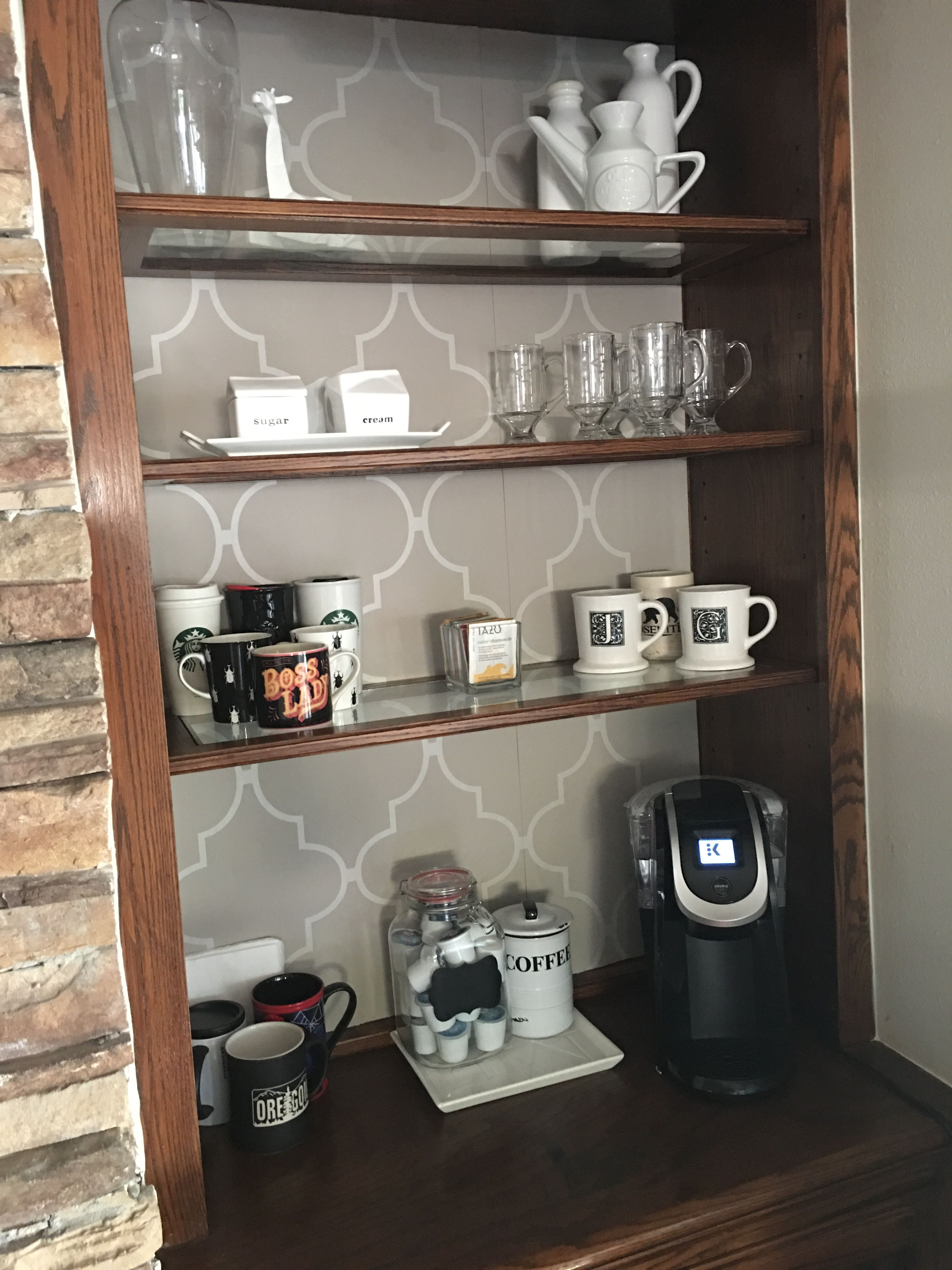 My home coffee bar I created in hutch by taking off doors ❤️❤️