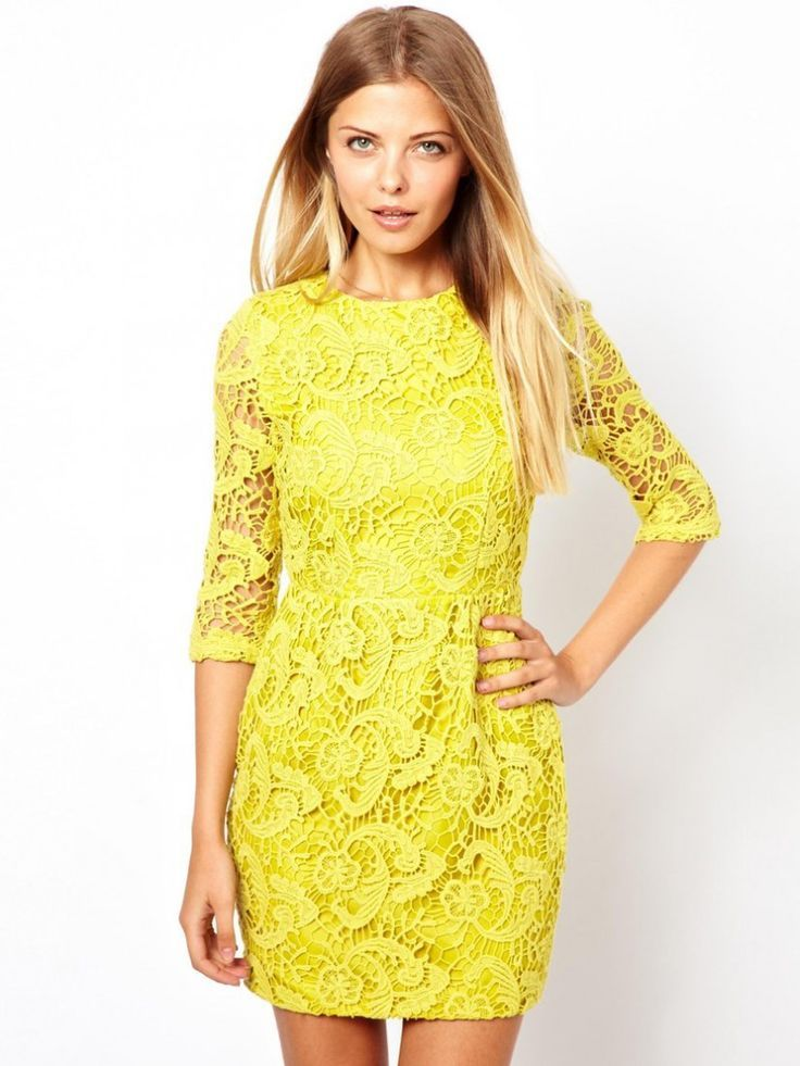 One moment please... | Yellow lace dresses, Clubwear ...