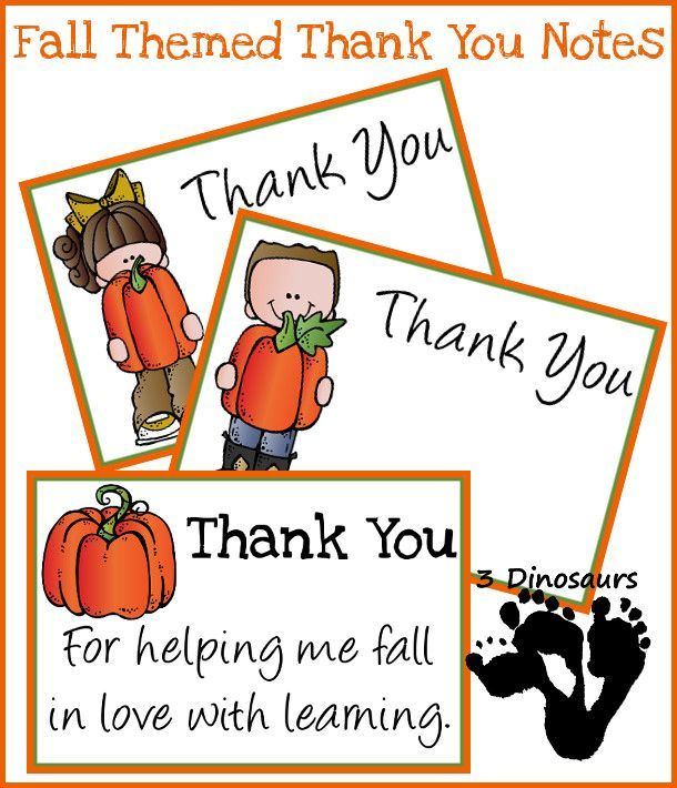 Free Fall Thank You Notes For Teachers  DinosaursCom