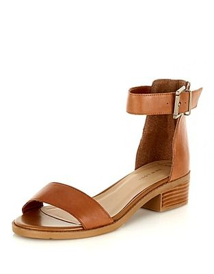 972195e5c9870 ASOS Fashion Finder | Tan Leather Ankle Strap Mini Block Heel ...