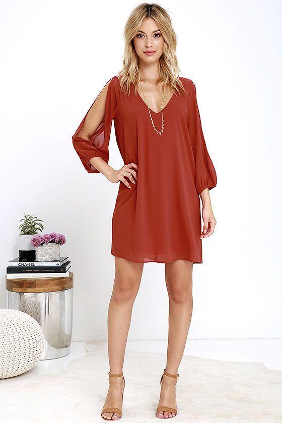 161e7bf9930e Pretty Rust Orange Dress - Shift Dress - Cold Shoulder Dress -  44.00