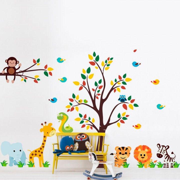 Adesivo Mesversario Natal ~ Adesivo de Parede Infantil Safari Quarto beb u00ea