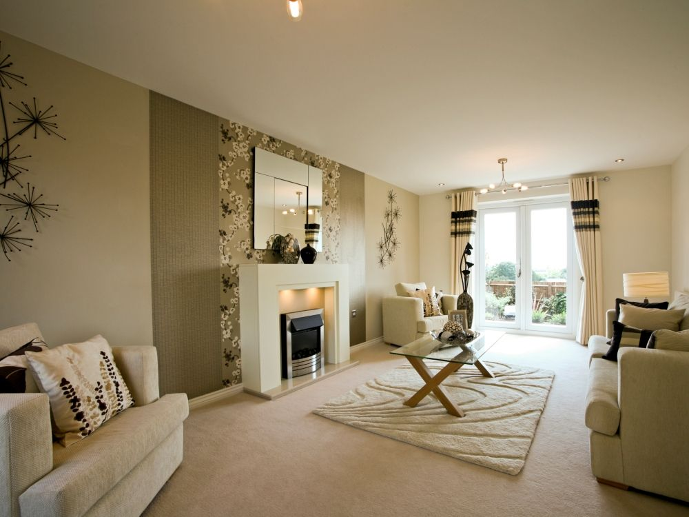 Charming Show Homes Decorating Ideas Part - 5: Taylor Wimpey Show Home - Mirror On Wall With Painted Strips Either Side  And Fire Place