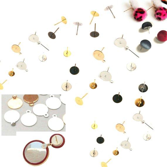 cef511367 DIY Earring making Kit Bases earring post Supplies Flat Back Earring Studs  Hypoallergenic Earring St
