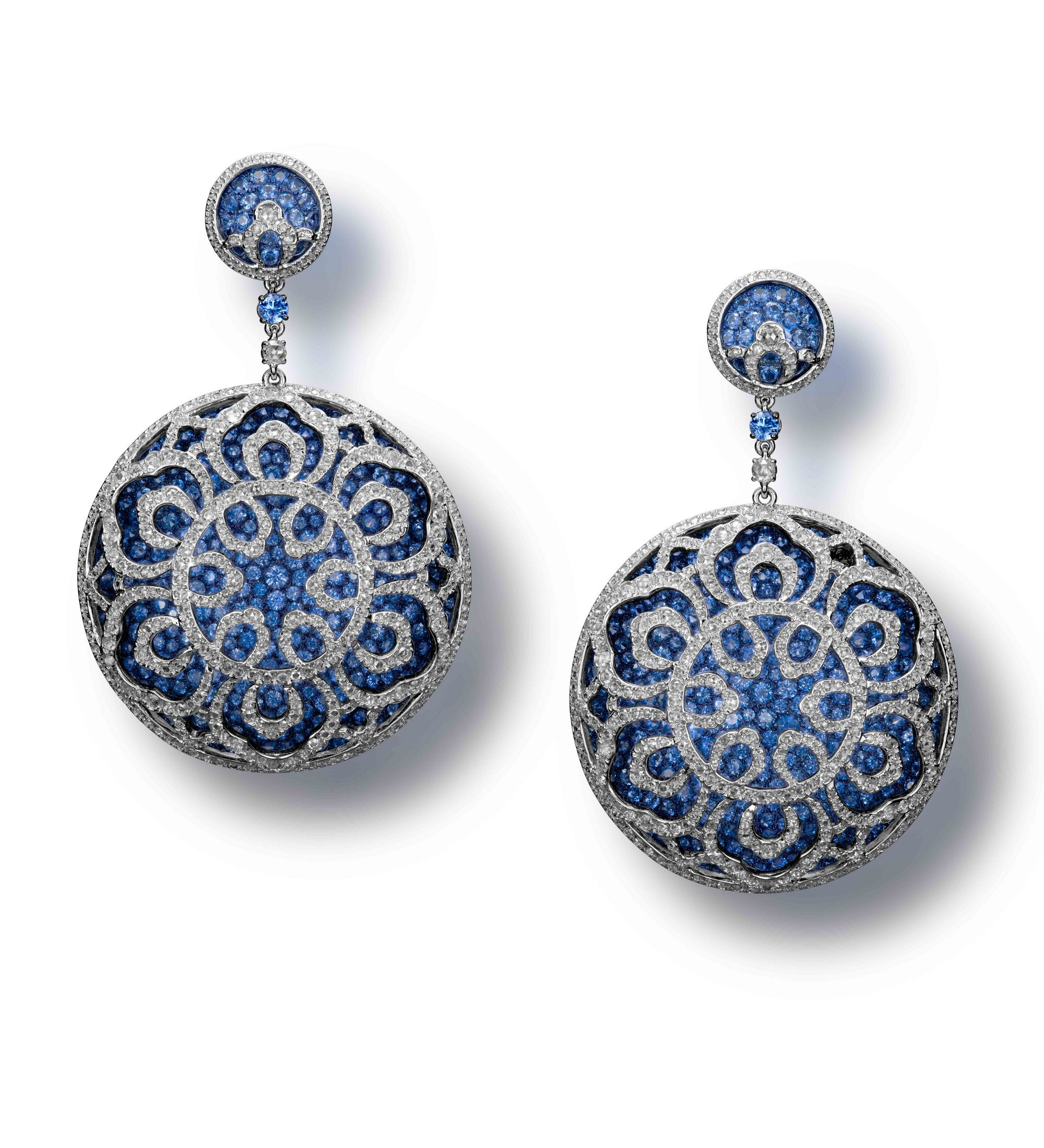A Pair of Blue Sapphire and Diamond 'Blue and White Reverie' Earrings by Carnet