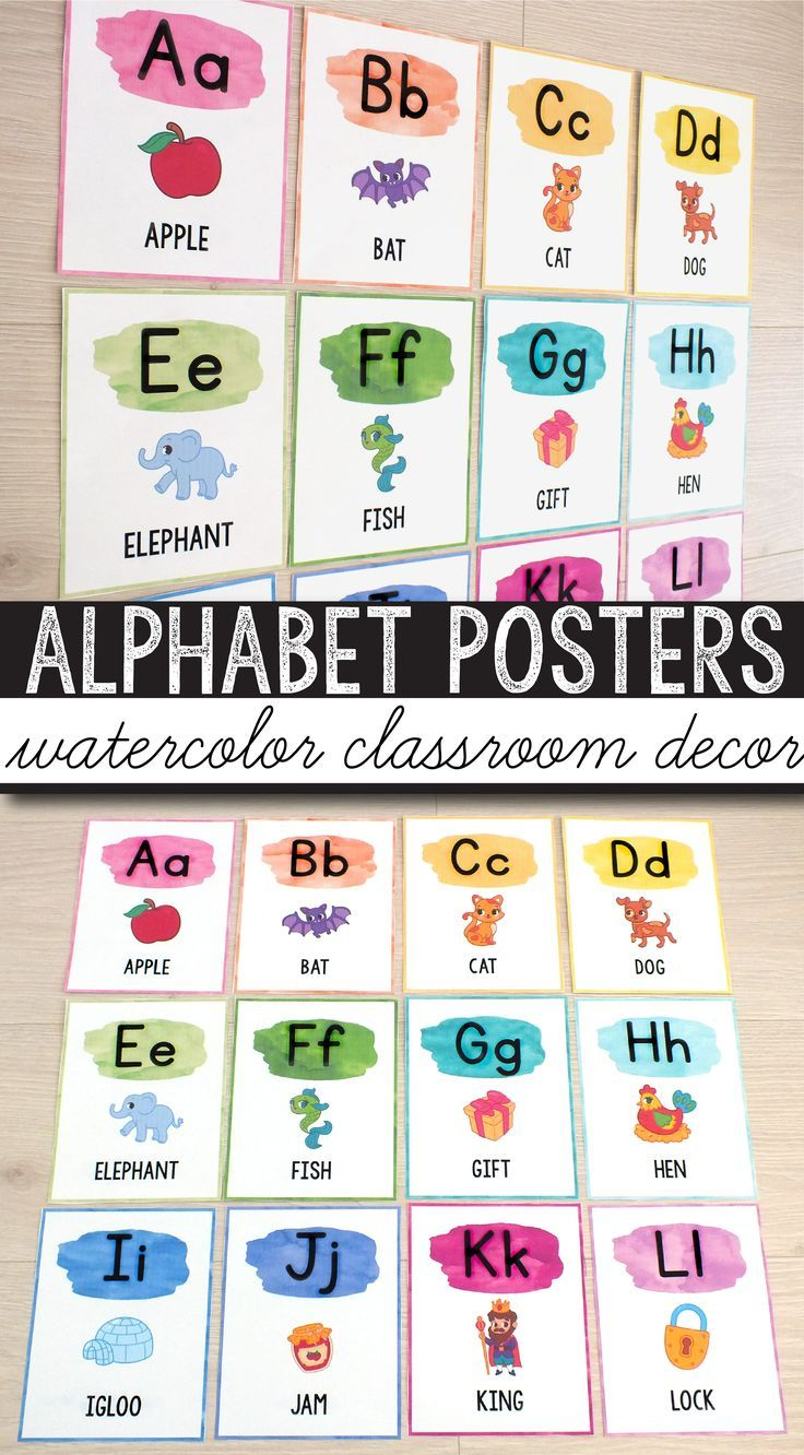 FREE Alphabet Posters - Watercolor Classroom Decor #elementaryclassroomdecor