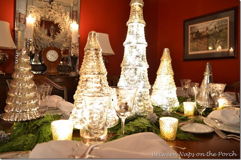 A Mercury Glass Christmas Tree Table Setting Mercury Glass Christmas Tree Glass Christmas Tree Christmas Tree On Table