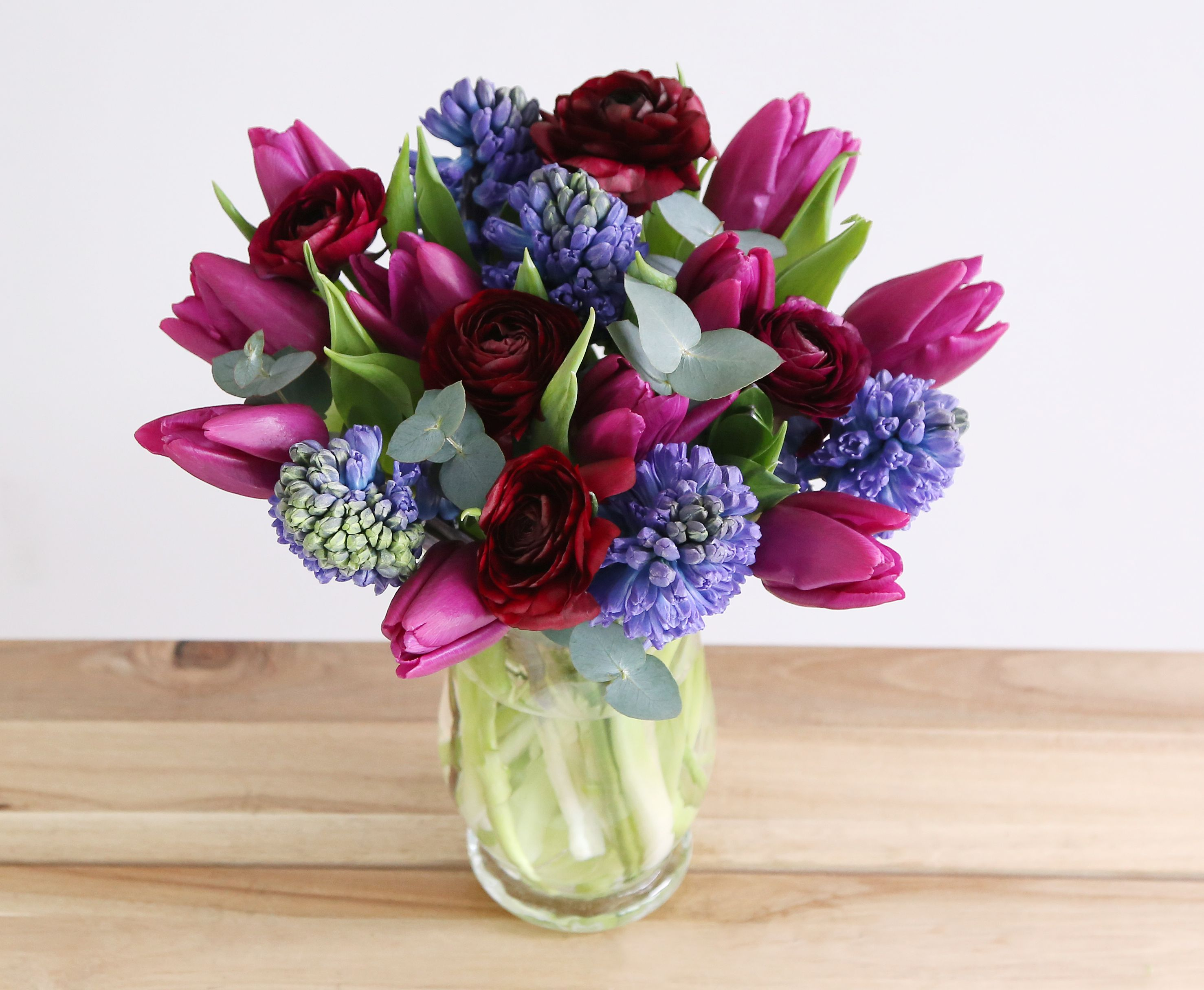 Indigo bouquet 5 blue hyacinth 10 purple tulips 5 purple call now on 0800 0350 flower delivery london uk from leading online flower shop arena flowers izmirmasajfo Gallery