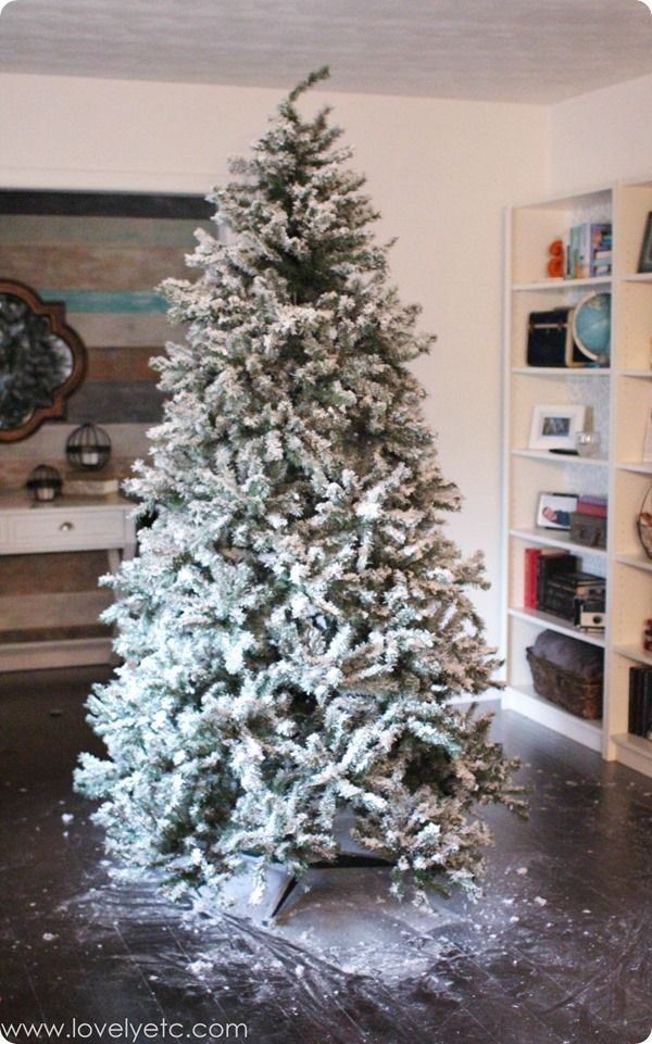 DIY Flocked Christmas Tree One Year Later. And a Giveaway