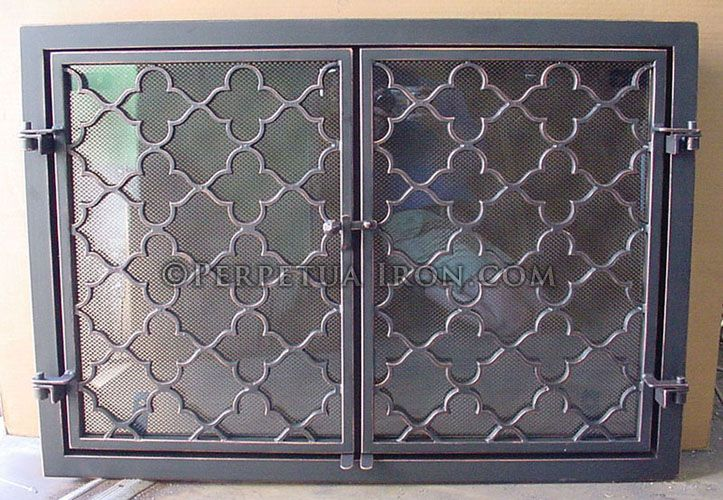 Marvelous Moroccan Inspired Clover And Star Pattern Glass Backed Fireplace Screen Or Fire  Screen Custom Made In