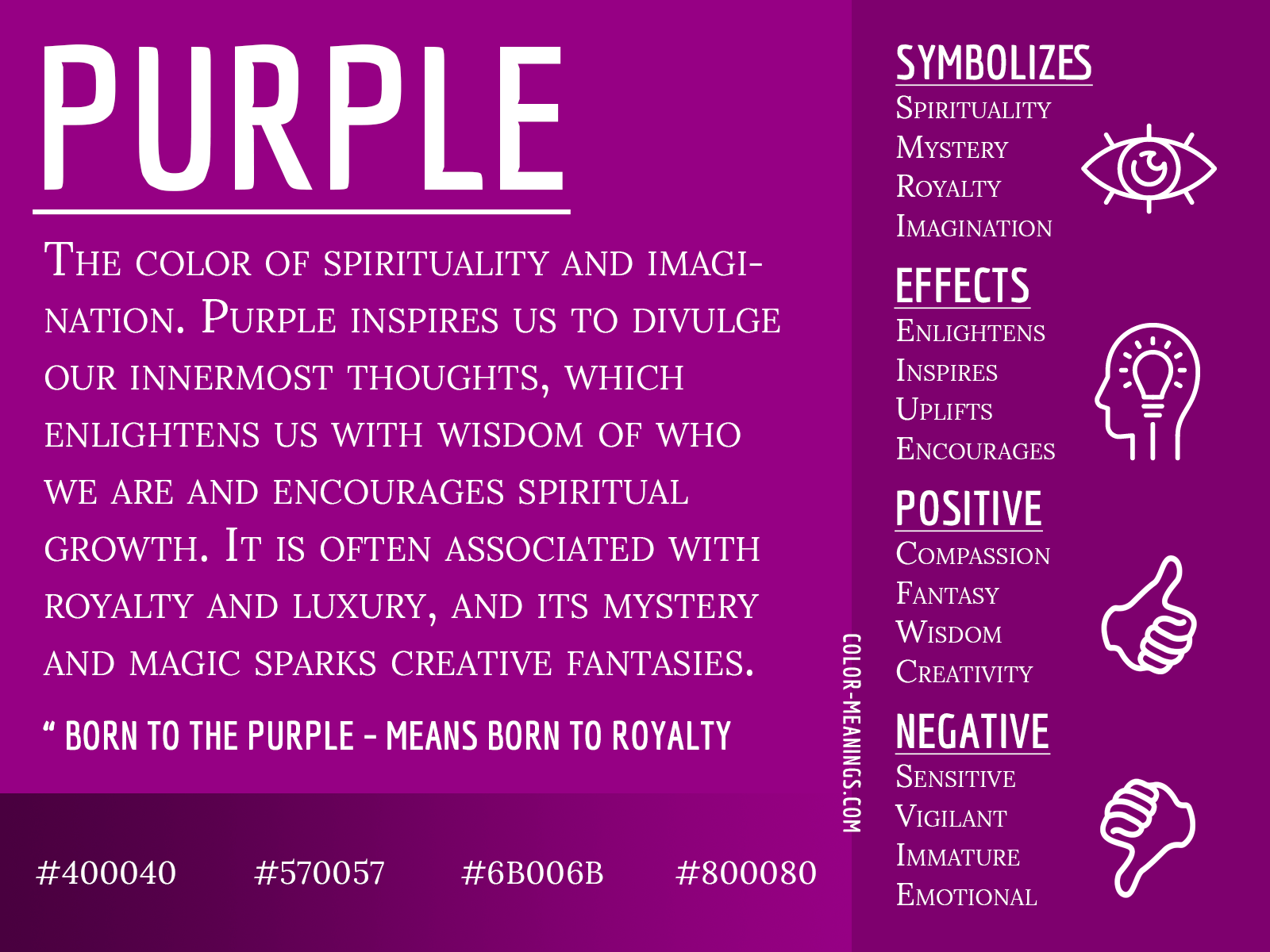 Purple Color Meaning The Color Purple Symbolizes Spirituality And Imagination In 2020 Purple Color Meaning Color Meanings Color Symbolism