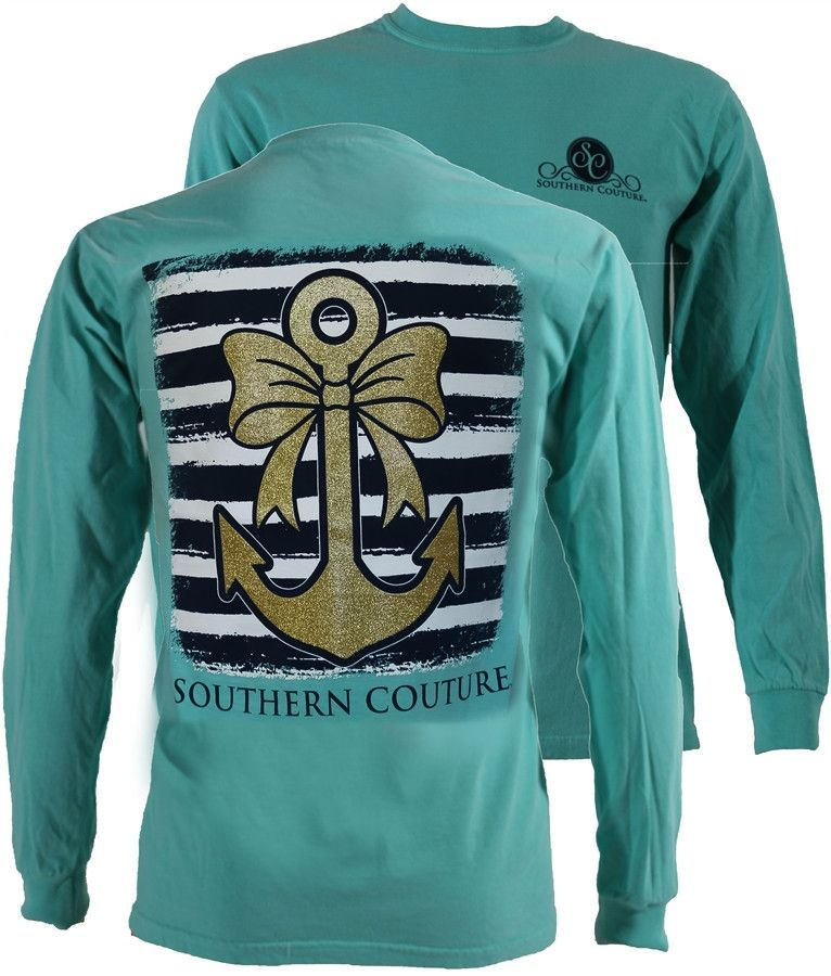 3d50893ecf22 Southern Couture Gold Glitter Anchor Bow Comfort Colors Mint Long Sleeve T- Shirt