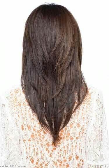 Medium Length Haircut With A Deep V And Layers Long Hair Styles Haircuts For Long Hair With Layers Hair Styles
