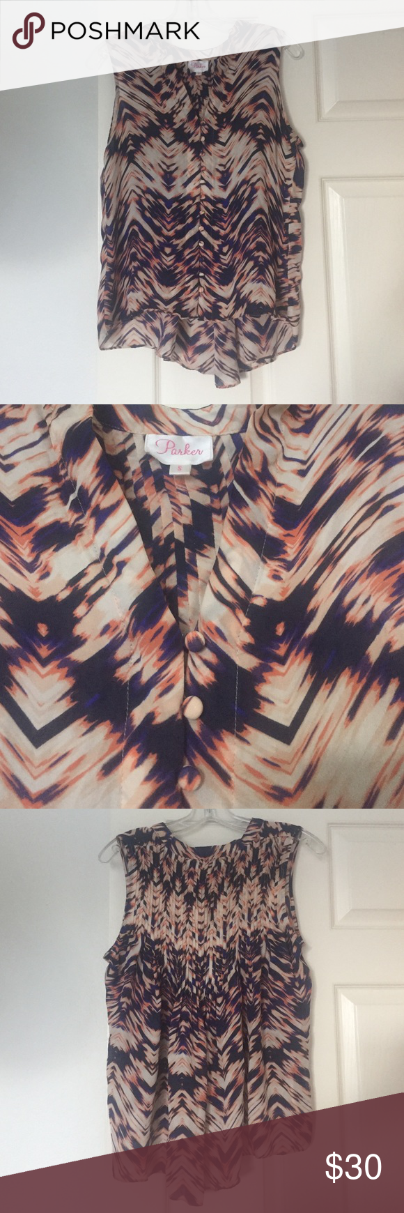 Parker Printed Top Printed, 100% silk, with pleated back and buttons down the front Parker Tops Tank Tops