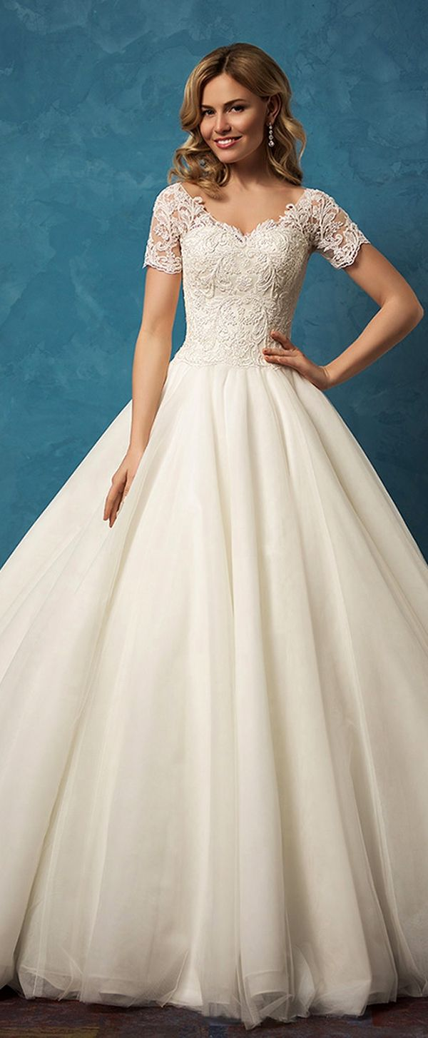 933196197089 Gorgeous Tulle V-neck Neckline Ball Gown Wedding Dresses With Lace  Appliques More