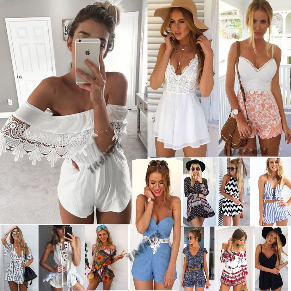 c39f50fad474 UK Womens Holiday Mini Playsuit Ladies Jumpsuit Summer Beach Dress Size 6 -  14  Unbranded  BohoHippie  SummerBeach