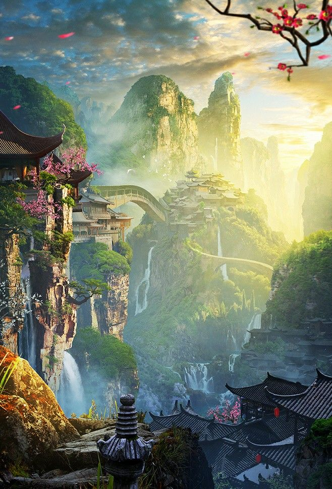 Pin By Sairaphim On Phong Cảnh Cổ Fantasy Art Landscapes Fantasy Concept Art Fantasy Landscape