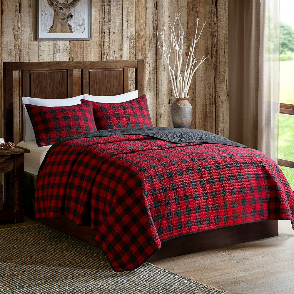 Woolrich 3 Piece Buffalo Check Quilt Set Red Quilt Sets Bedding