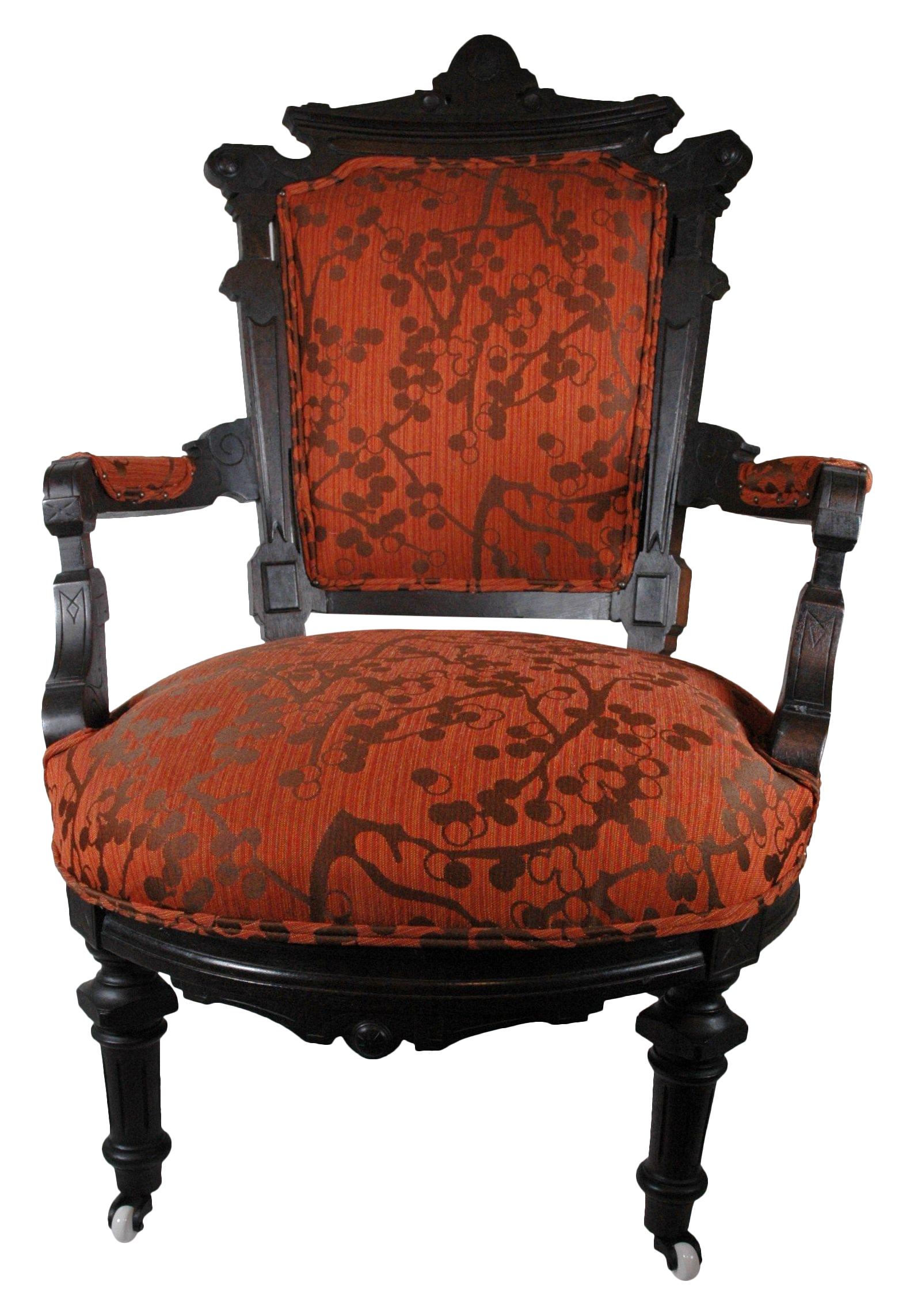 This fully restored antique Eastlake chair is a work of art! Originally  made in the 1890s, it's been reupholstered in a rich cotton printed fabric,  ... - 1890s Eastlake Chair Whispering Crimson Heights Pinterest