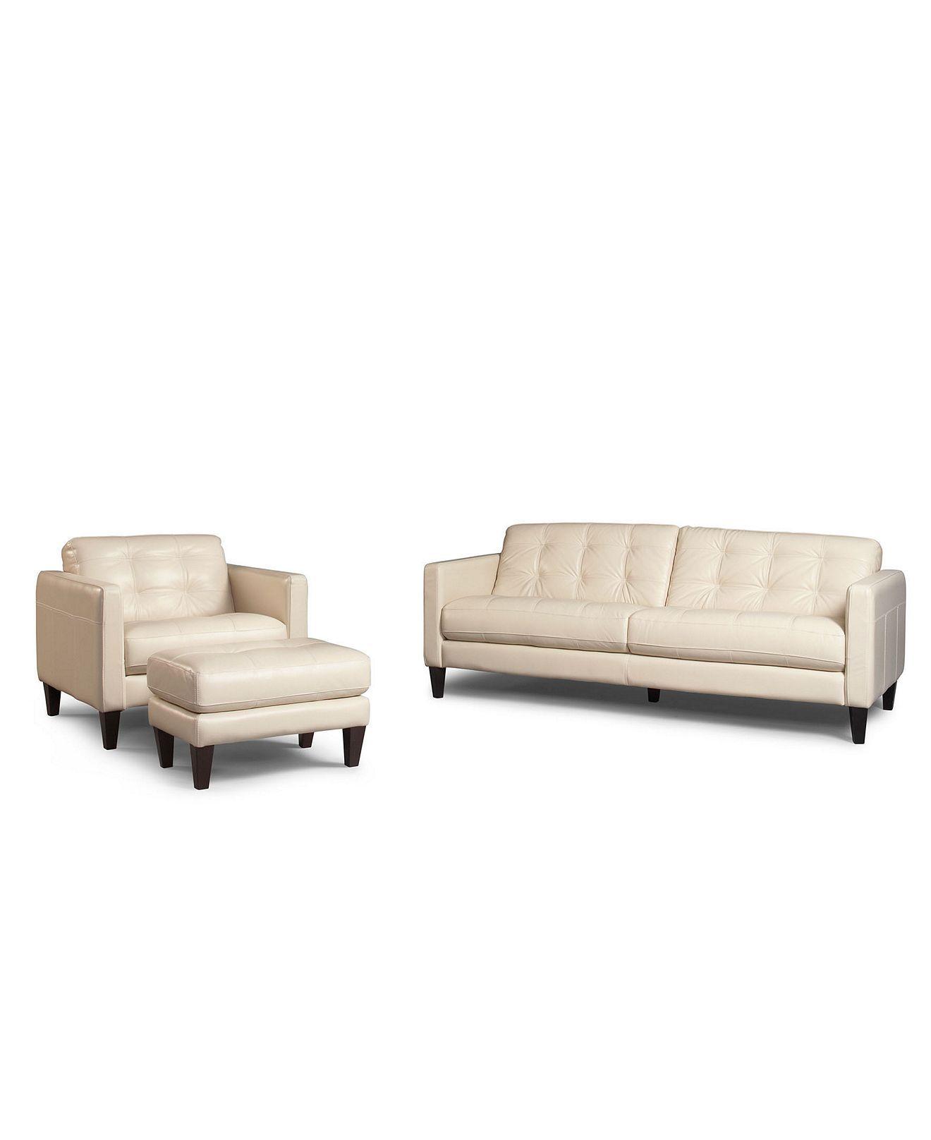 Milan Leather Sofa Macys: Milan 3-Piece Leather Sofa Set: Sofa, Chair And Ottoman