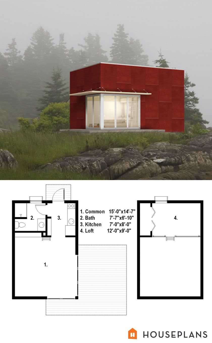 500sft tiny modern cottage plan number 497-61 - Houseplans ...