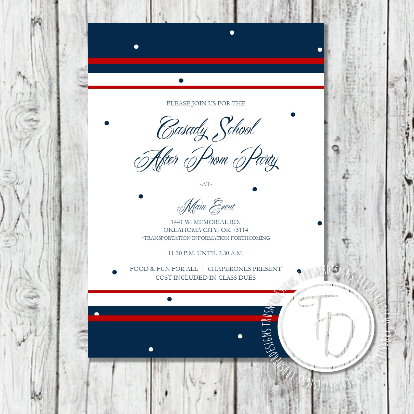 After Prom invitation Military Ball invitation by Trusner Designs