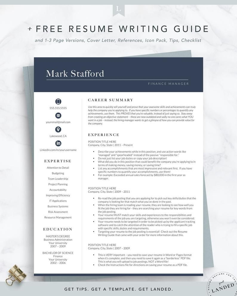 Professional Resume Template Cv Template For Word Engineer
