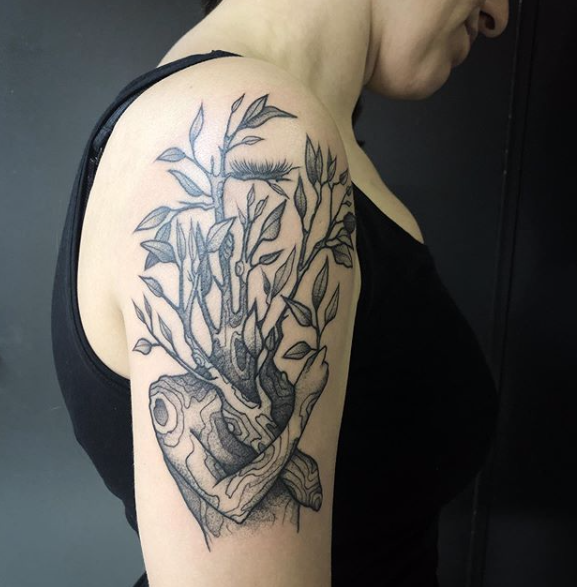 Surreal Tree Figure Tattoo Concept Brought In By The Customer And Brought To Life By Susanna At Scratchline Tattoo Hidden Hand Tattoos London Tattoo Tattoos
