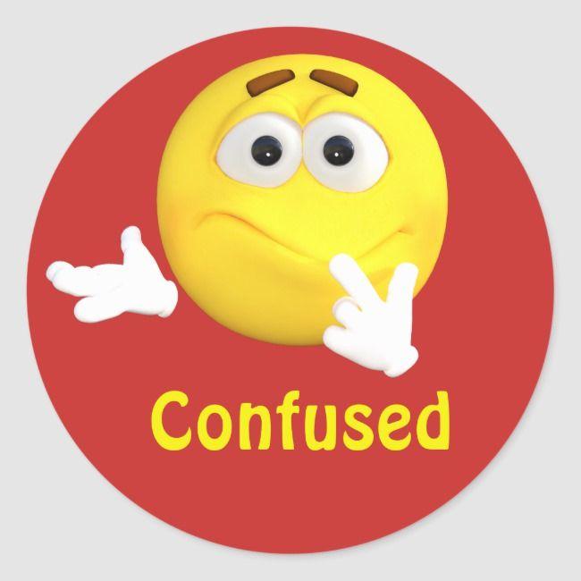 Confused Emoji Emoticon Cartoon Face Classic Round Sticker Zazzle Com In 2021 Funny Emoticons Funny Emoji Funny Emoji Faces
