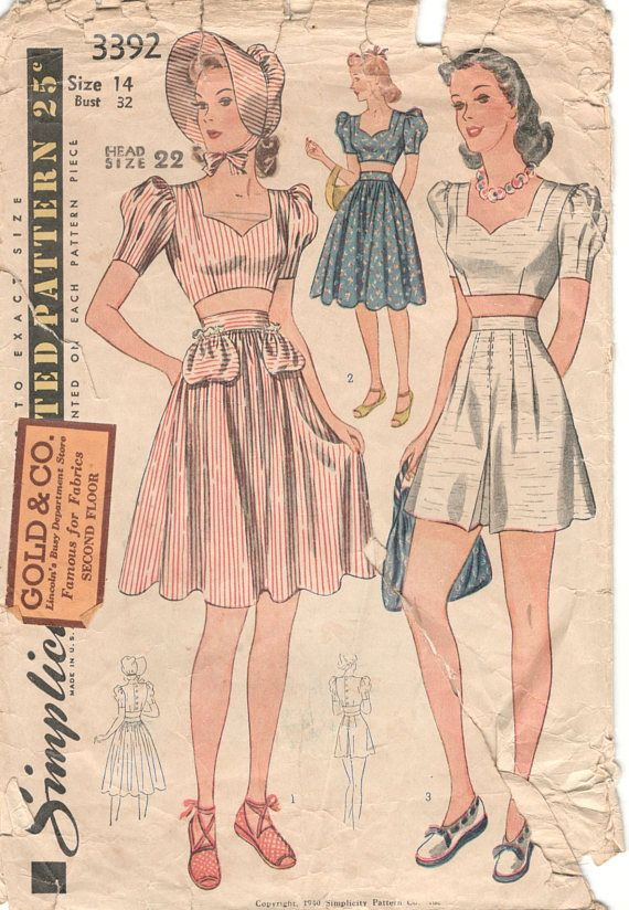 Simplicity 3392 1940s Misses Midriff TOP Shorts SKIRT Sun