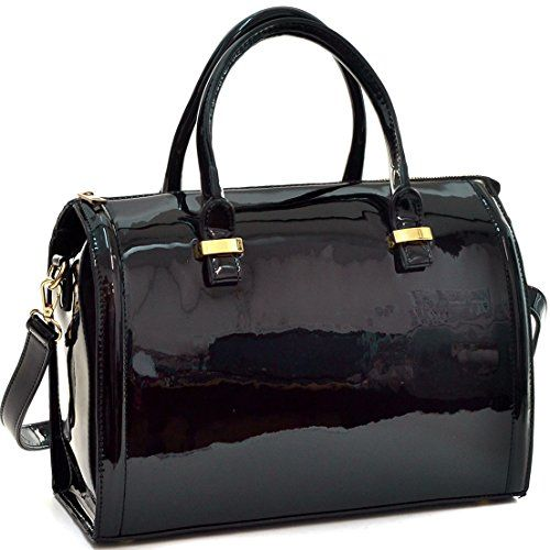 Dasein Shiny Patent Faux Leather Barrel Body Satchel Handbag Shoulder Bag Black Check Out This Great Product