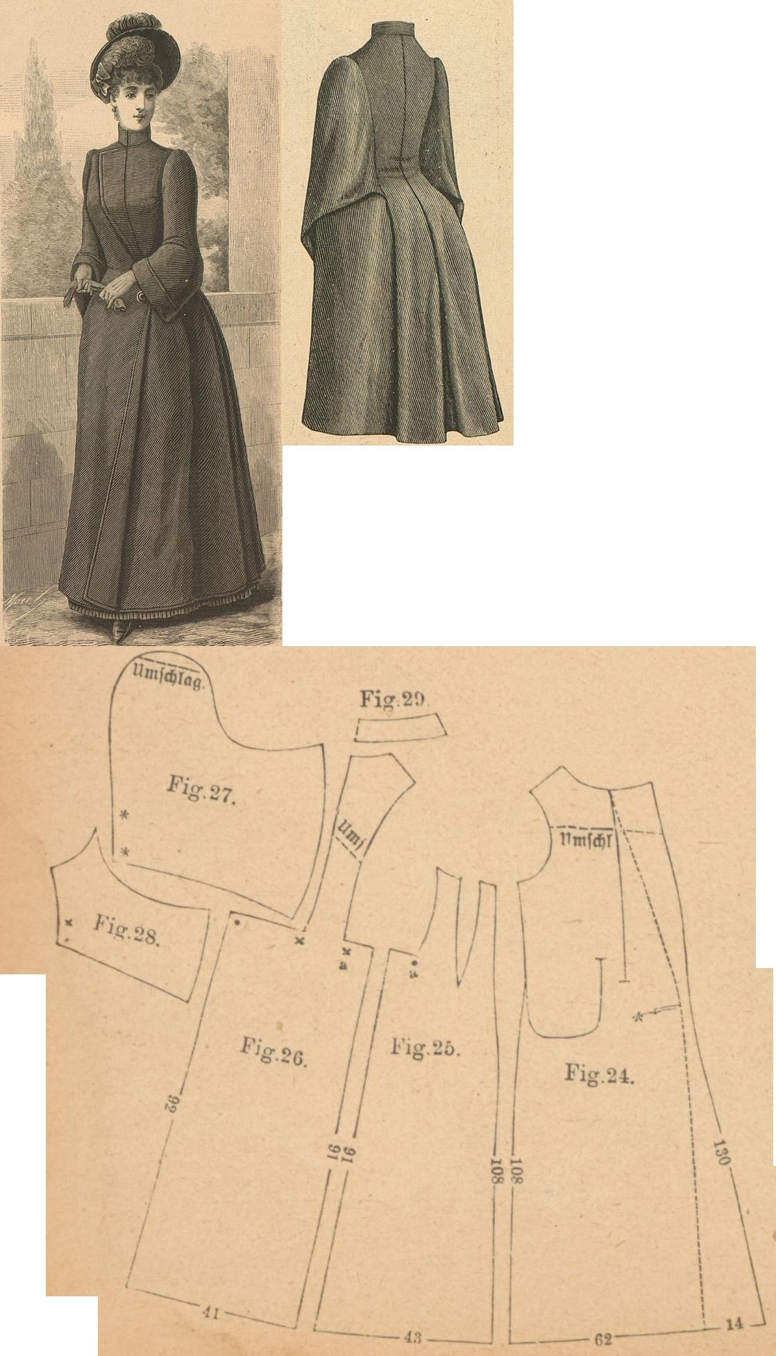 Der Bazar 1888: Raincape from grey cheviot with atlas lining; 24. front part, 25. side gore, 26. back part in half size, 27. and 28. over- and undersleeve parts, 29. collar in half size