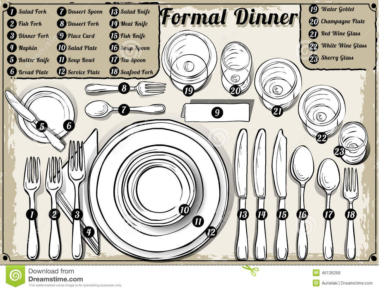 Vintage Hand Drawn Place Setting Formal Dinner - Download From Over ...
