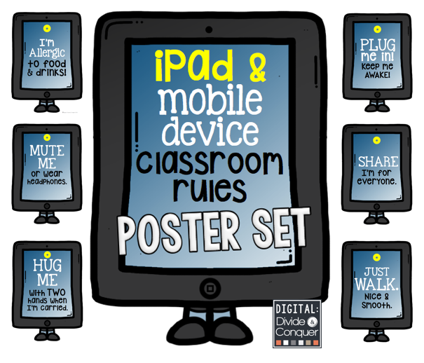 Free set iPad and Mobile Device Classroom Rules Poster Set ...