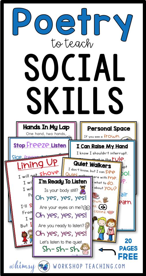 Social Skills Poetry Whimsy Workshop Teaching Teaching Social Skills Social Skills Lessons Social Emotional Learning