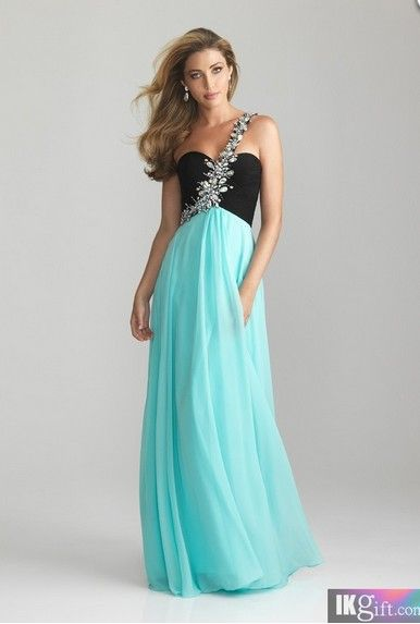 2015 Elegant One Shoulder Aqua light blue, black long prom dress ...