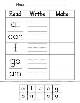 read write make sight word worksheet reading center ideas sight word worksheets teaching. Black Bedroom Furniture Sets. Home Design Ideas