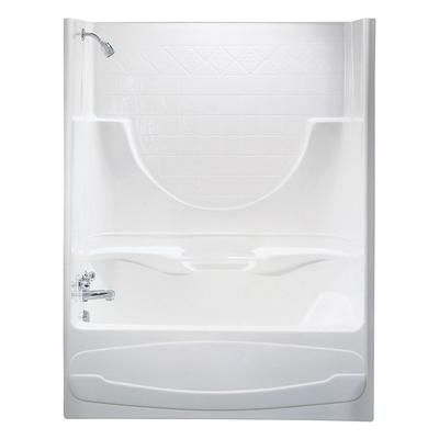 MAAX Montego Ii 2-Piece White Acrylic Tub Shower Left Drain, deep - roulement de porte coulissante
