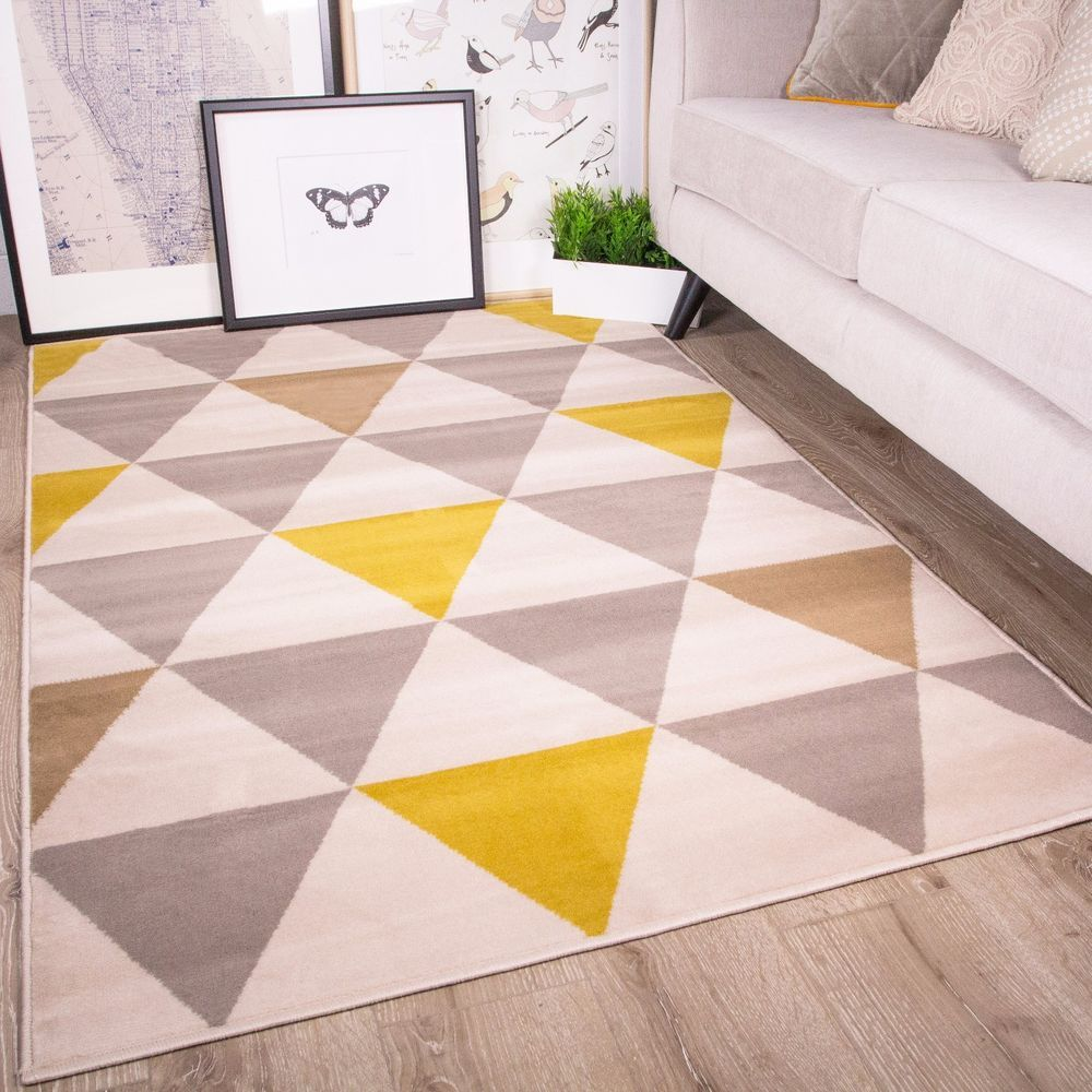 Hall Runner Ochre Yellow Grey Popular Geometric Flatweave Outdoor Large Rug