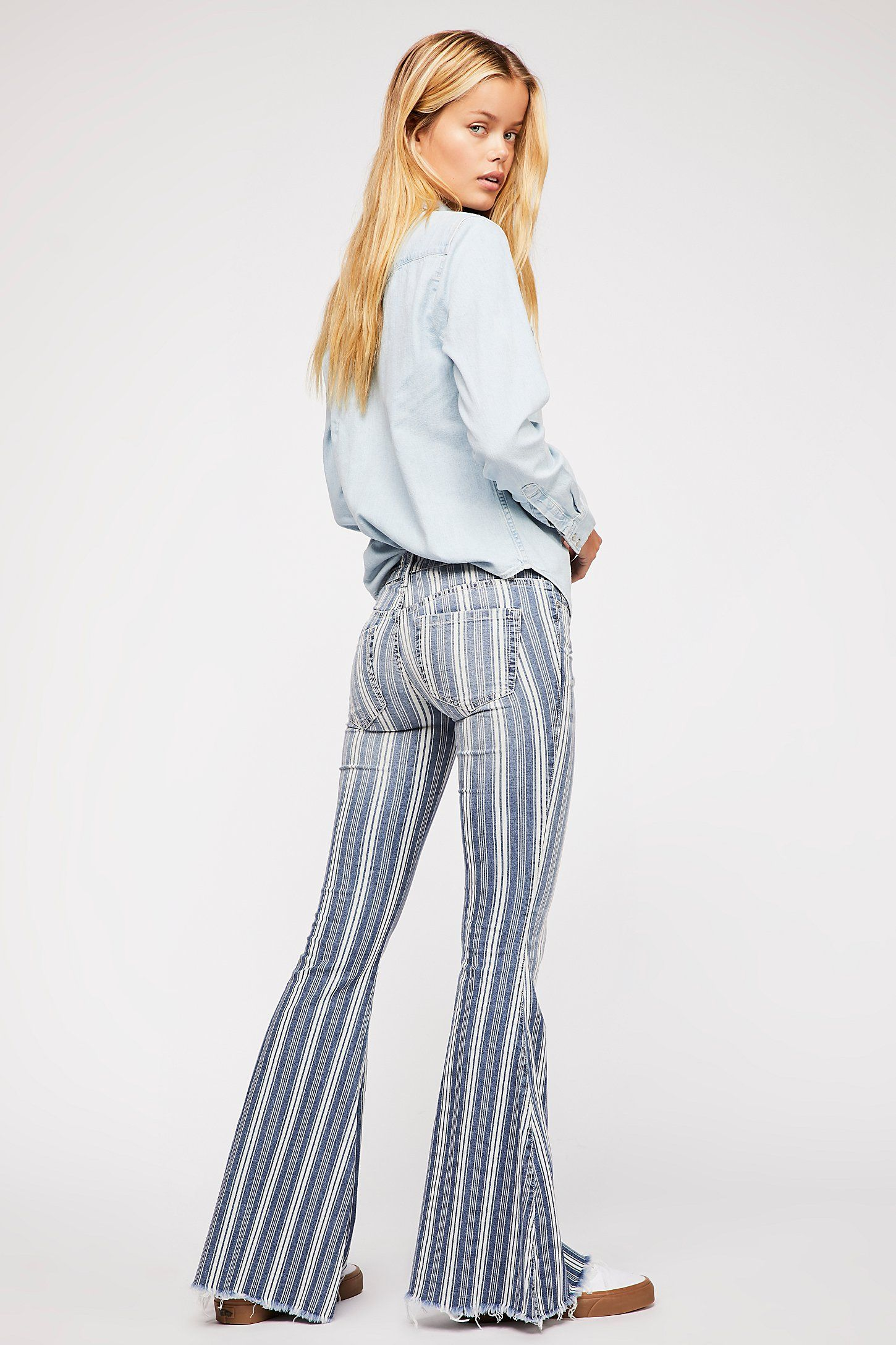 7265c7aa858 Denim Super Striped Flare Jeans in 2019