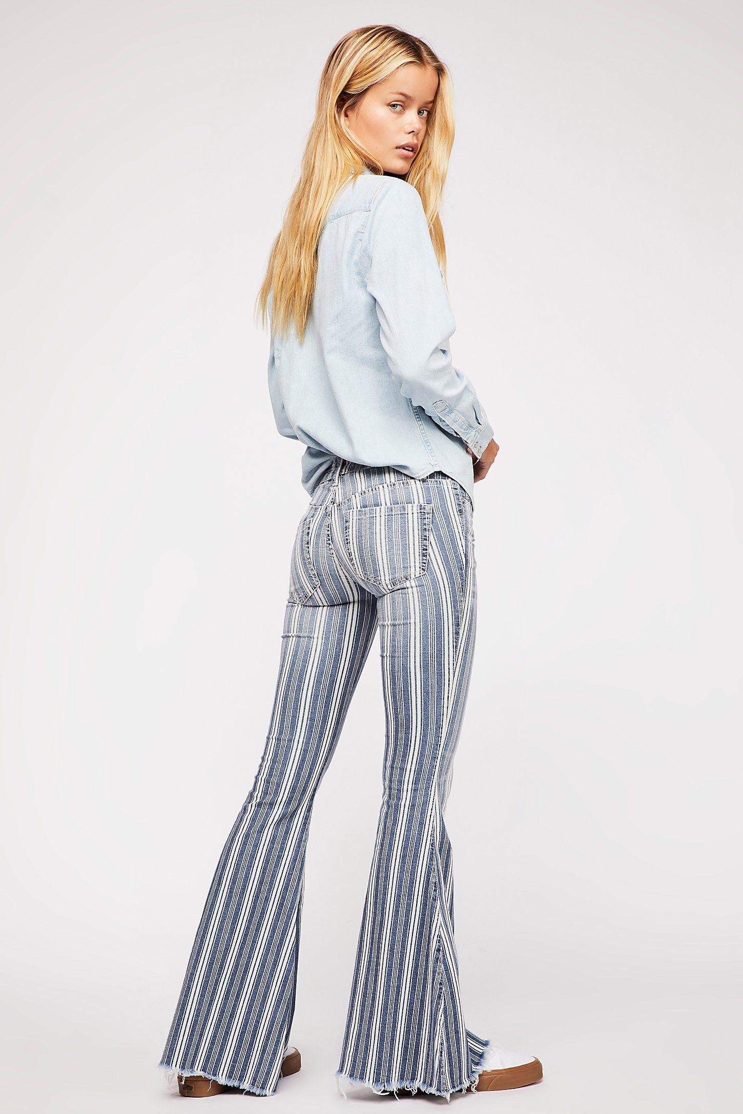 2574fcf50bf Denim Super Striped Flare Jeans in 2019