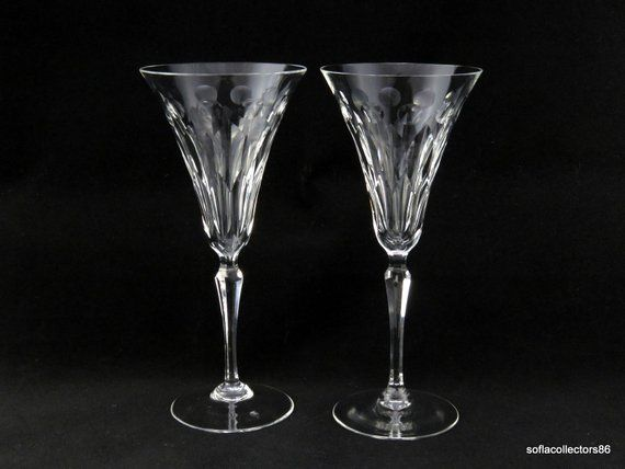 d1004ce5c1396 Champagne Glasses - Trumpet Bowls w Vertical Cuts & Dots on Multi ...