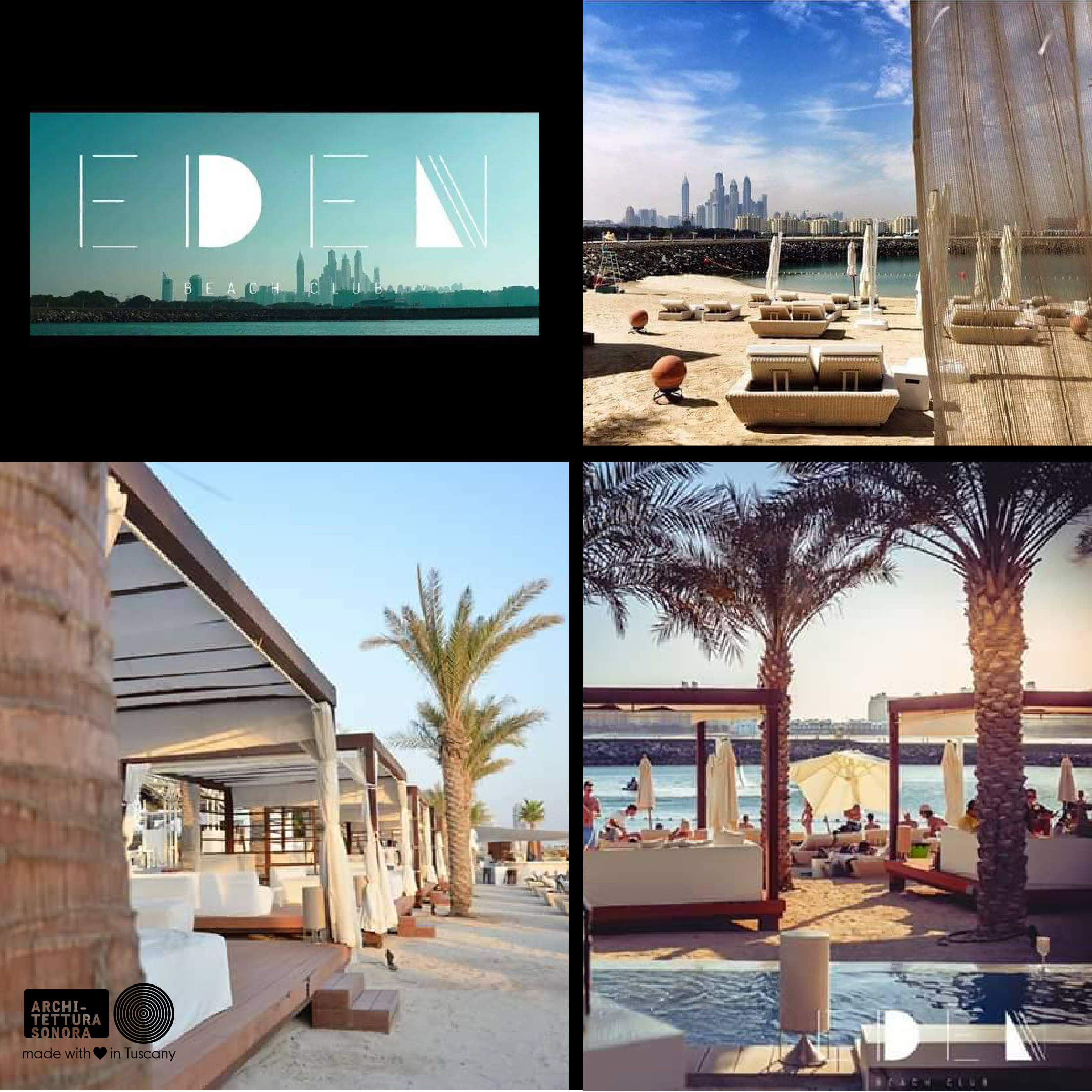 Eden is a day on the beach @EdenBeachDubai … with the natural outdoor sound of Architettura Sonora #PalmIsland #Eden #PalmDubai #OutdoorSound #ArchitetturaSonora #BestSound #21db #Soundmatters
