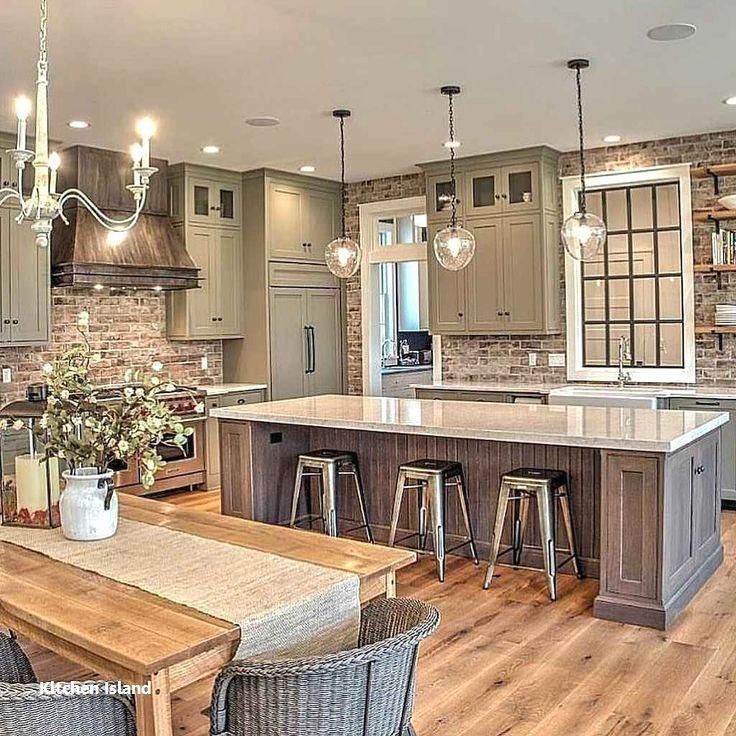 Kitchen Island Ideas Farmhouse Kitchenislandideas Kitchenisland Kitchenideas In 2020 Farmhouse Kitchen Decor Elegant Kitchen Design Elegant Kitchens