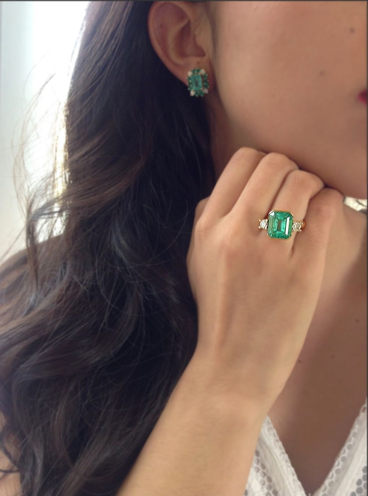 169a80e90606d 7.35cts AAA NATURAL COLOMBIAN EMERALD RING WITH DIAMONDS ACCENTS 18K ...