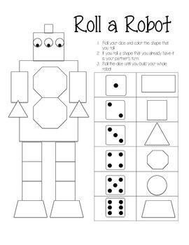 Roll A Robot Game Preschool Math Math Workshop Elementary Math