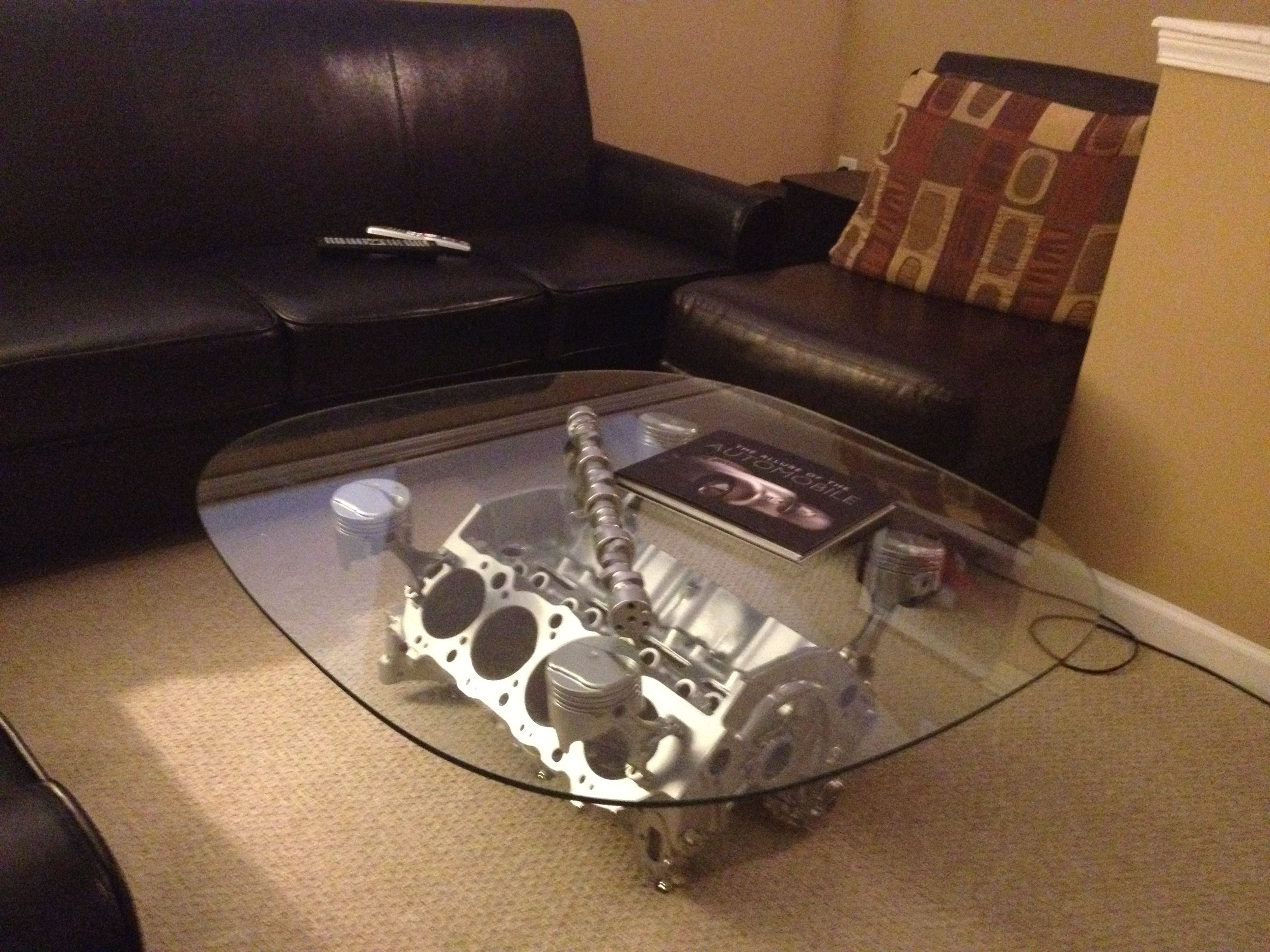 Coolest man cave table ever! My friend made this from his dads old ...