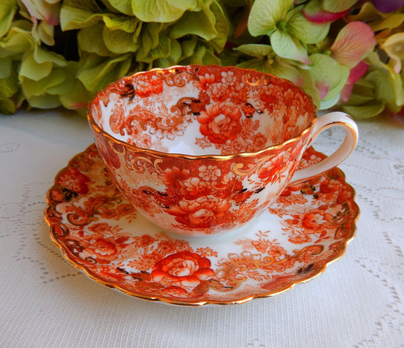 Vintage Radfords Victorian Bone China ~ Porcelain Cup & Saucer ~ Floral ~ Gold