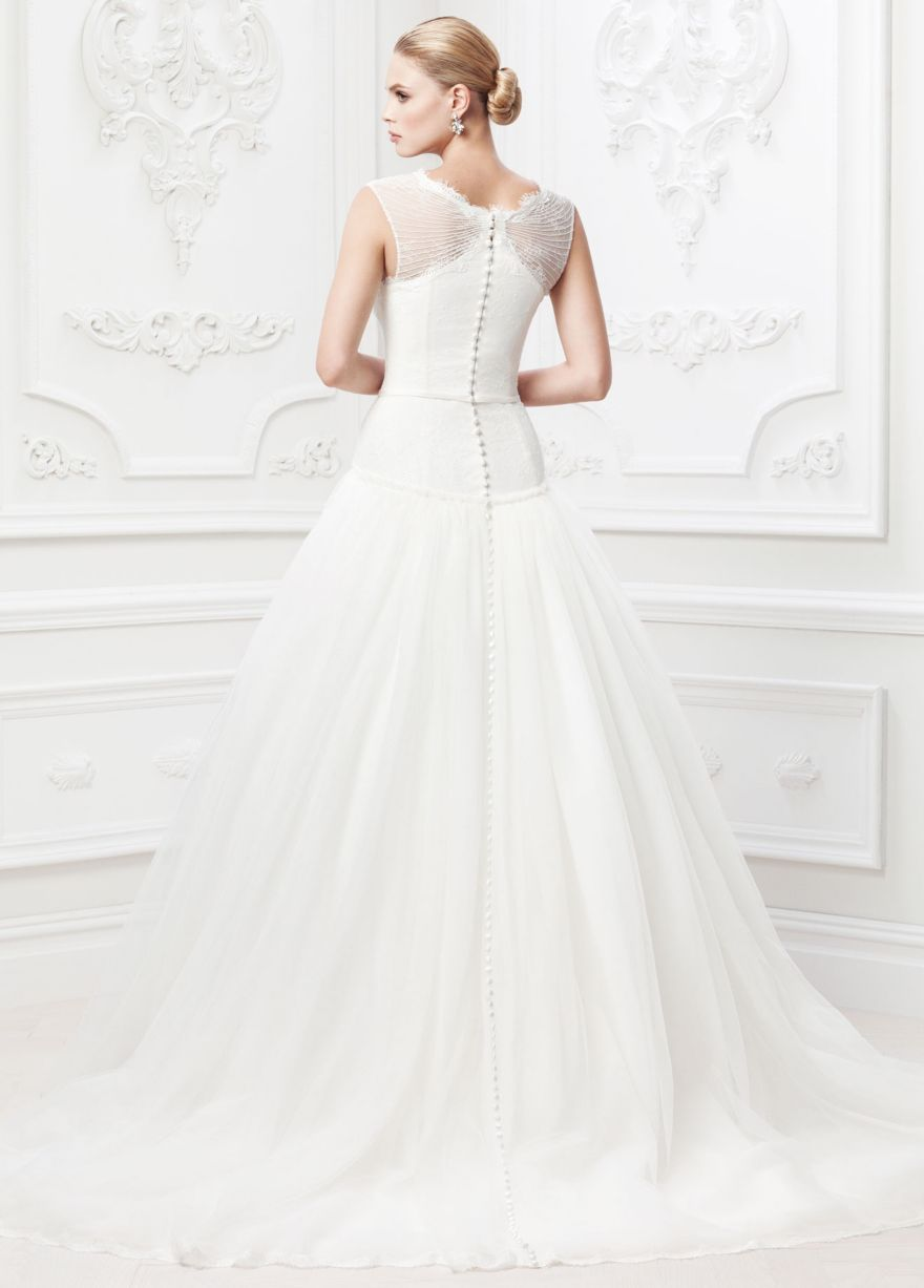 Lace and Tulle Ballgown with Illusion Neckline - David's Bridal